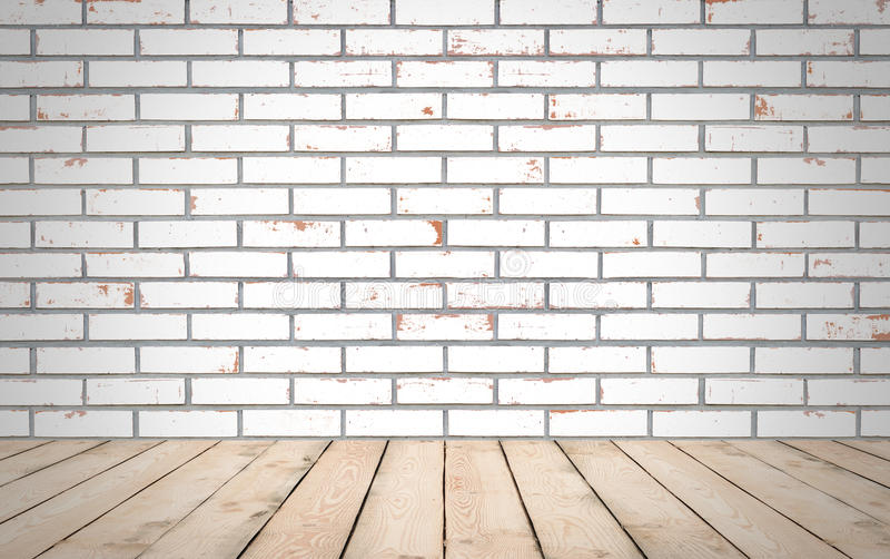 Perspective wood over white brick wall background, room, table, royalty free stock photos