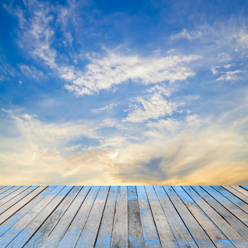 Wood Floor On Beach Sea And Blue Sky For Background Stock: Perspective Wood Plank Stock Images