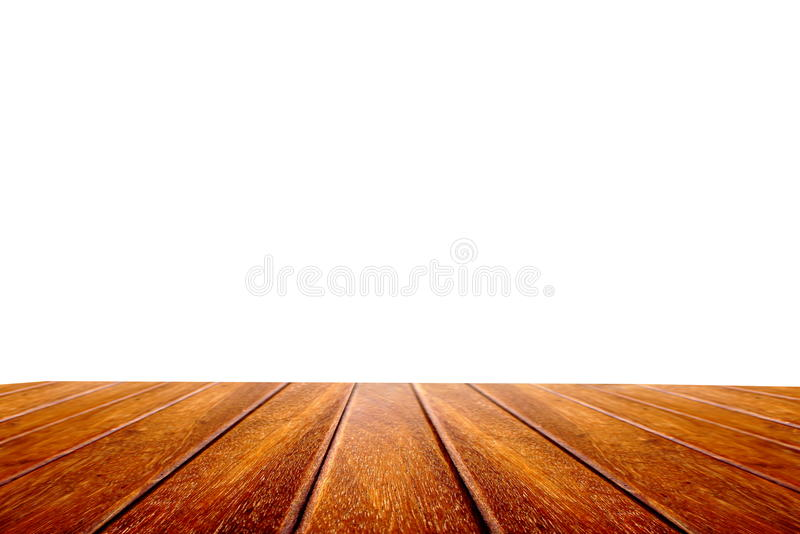 Perspective wood table isolated on white background stock images