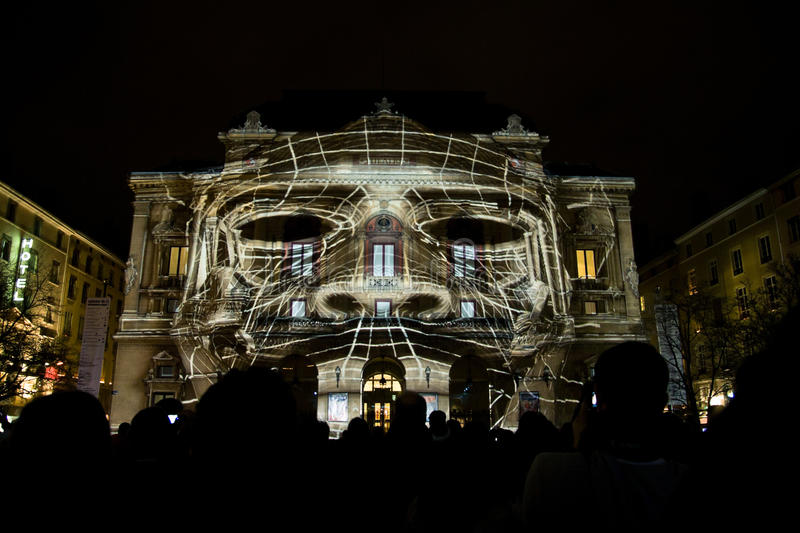 Perspectives Lyriques - Fete des Lumieres 2010. Projection on Theatre Celestins, by 1024 Architecture, production Lighting Process. Installation as part of Fete stock photos