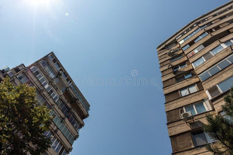 Perspektiv av Bucharest lägenhetkvarter med träd och blå himmel arkivfoto