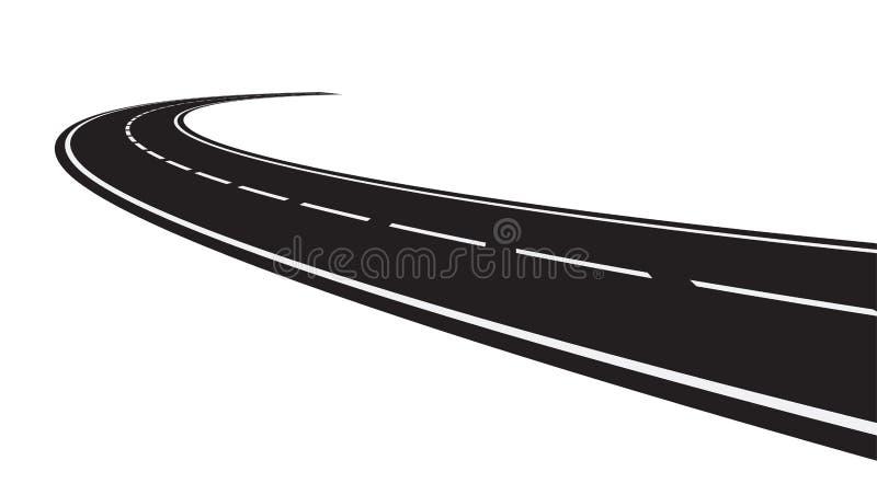 Perspektiv av den krökta vägen vektor illustrationer