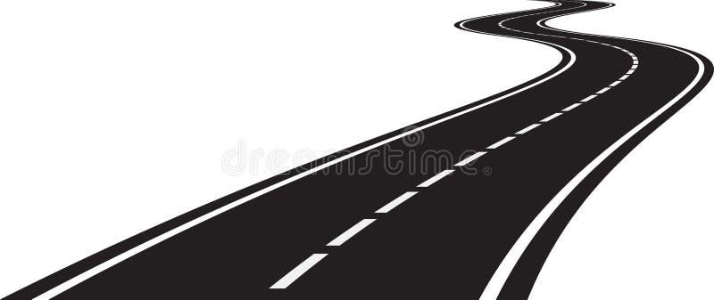 Perspektiv av den krökta vägen stock illustrationer