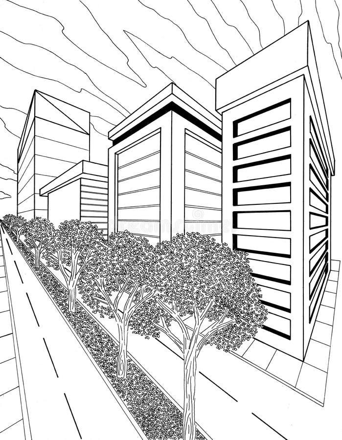 Perspektiv av en stad arkivbild