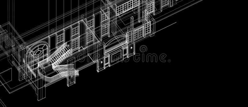 Perspektive des Architekturinnentreppenspaltenfensterelement-Konzeptes des Entwurfes 3d weißes wireframe, das schwarzen Hintergru lizenzfreie abbildung