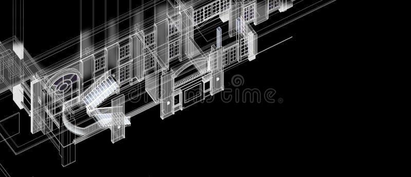 Perspektive des Architekturinnentreppenspaltenfensterelement-Konzeptes des Entwurfes 3d weißes wireframe mit materiellem Farbwied vektor abbildung