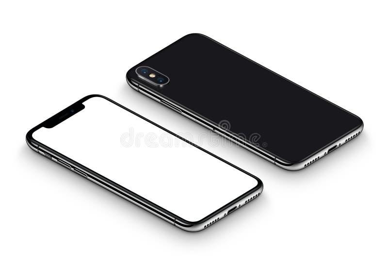Perspektive des schwarzen Vorderseite Smartphonemodells und Rückseite drehte CCW das Lügen auf Oberfläche stock abbildung