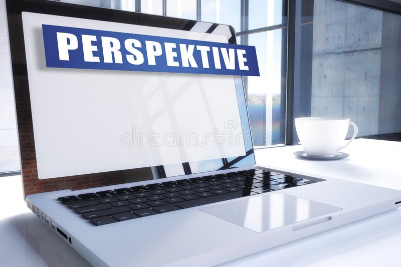 Perspektive. German word for perspective text on modern laptop screen in office environment. 3D render illustration business text concept, start, mission stock illustration