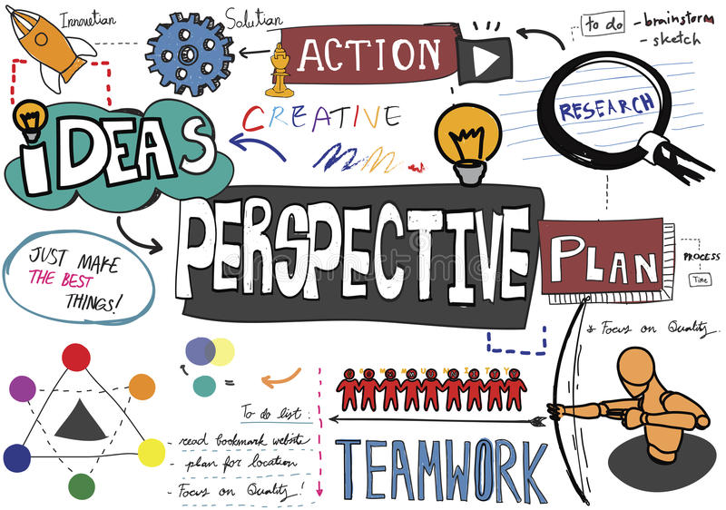 Perspektiven-Plan-Aktions-Ideen-Geschäfts-Konzept stock abbildung
