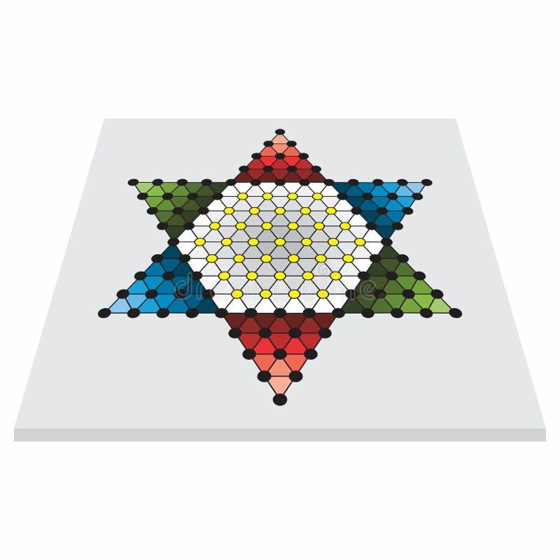 Perspektivenansicht des verschiedenen Familienspielbrettes, sternhalma vektor abbildung