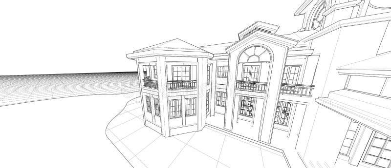 Perspektivendrahtrahmen des Architekturaußenfassaden-Konzeptes des Entwurfes 3d, der lokalisierten weißen Hintergrund überträ lizenzfreie abbildung