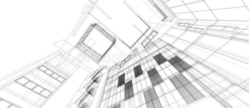 Perspektivendrahtrahmen des Architekturgeb?uderaum-Konzeptes des Entwurfes 3d, der lokalisierten wei?en Hintergrund ?bertr?gt F?r vektor abbildung