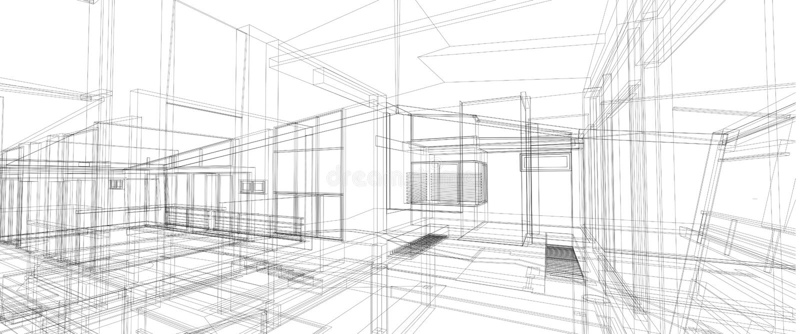 Perspektivendrahtrahmen des Architekturinnenraum-Konzeptes des Entwurfes 3d, der lokalisierten weißen Hintergrund überträgt vektor abbildung