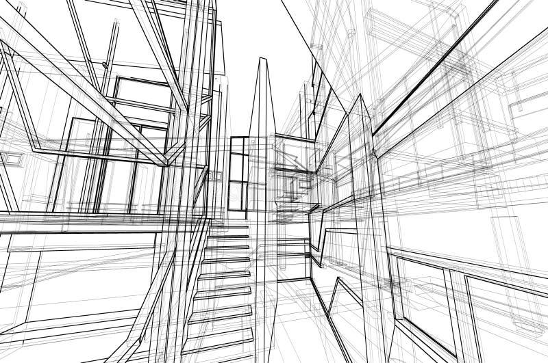 Perspektivendrahtrahmen des Architekturinnenraum-Konzeptes des Entwurfes 3d, der lokalisierten wei?en Hintergrund ?bertr?gt lizenzfreie abbildung