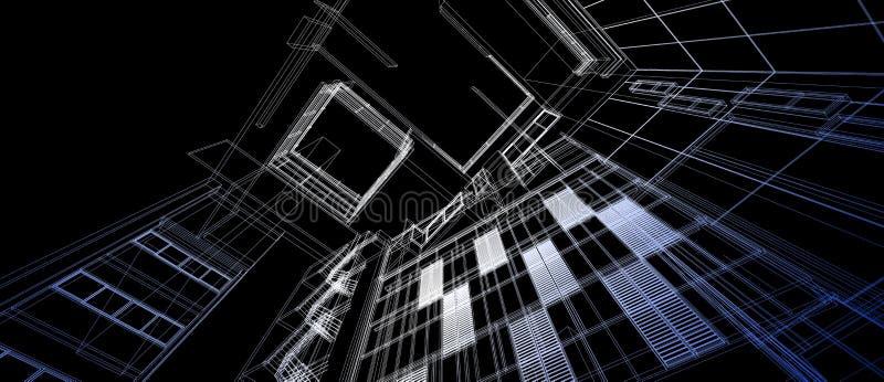 Perspektivensteigungsfarbdrahtrahmen des Architekturgebäuderaum-Konzeptes des Entwurfes 3d, der schwarzen Hintergrund überträgt F lizenzfreie abbildung