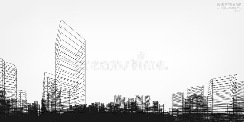 Perspektivet 3D framför av byggnadswireframe vektor stock illustrationer