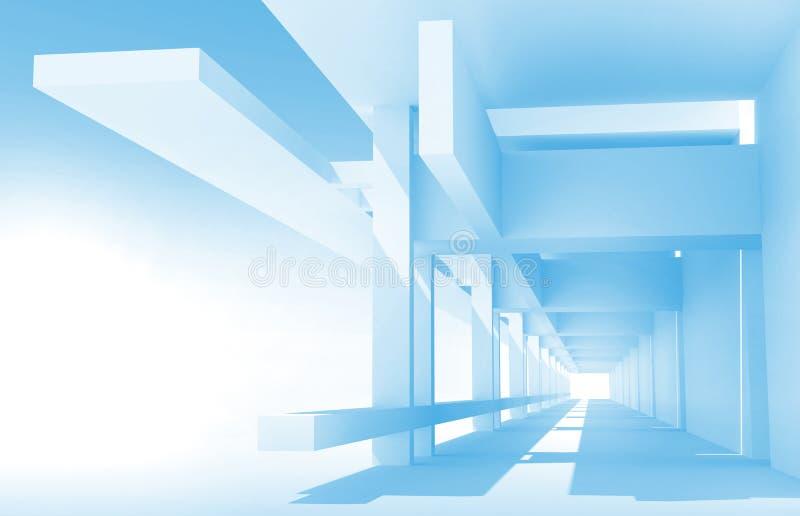 Perspektivsikt av blå korridorkonstruktion stock illustrationer