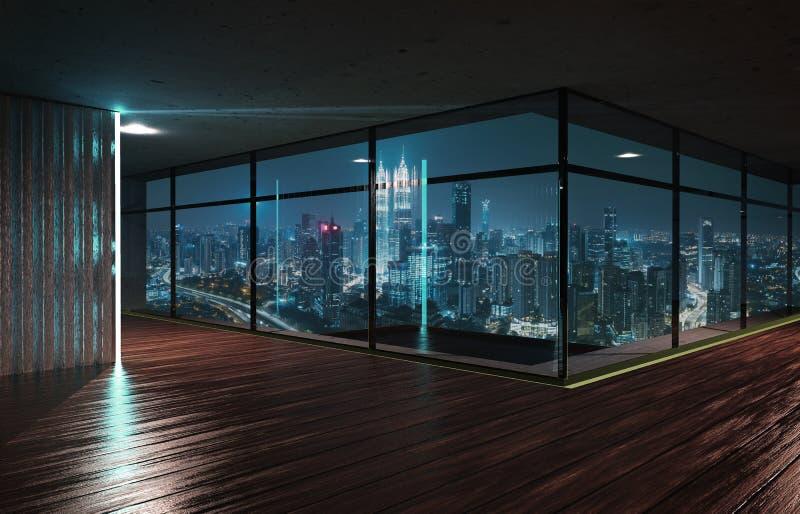 Perspektivsikt av den tomma wood golv- och cementtakinre royaltyfri illustrationer