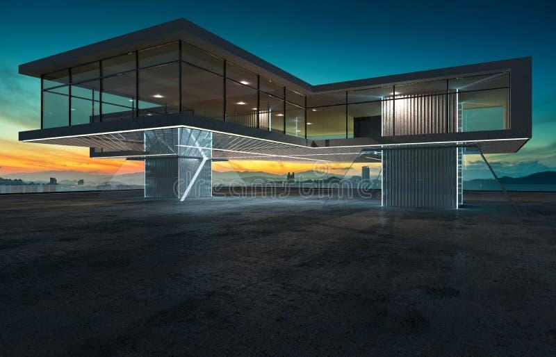 Perspektivsikt av det tomma cementgolvet med modern stål- och exponeringsglasbyggnadsyttersida stock illustrationer