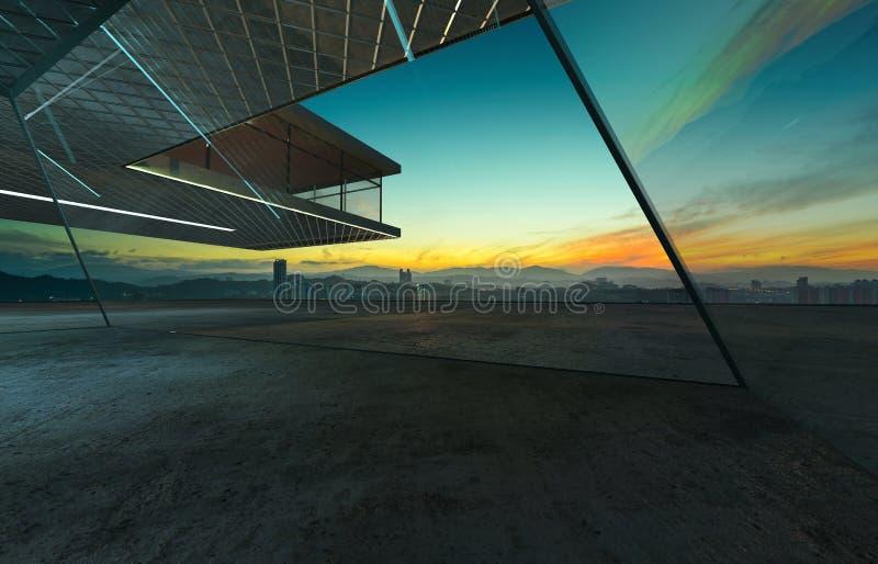 Perspektivsikt av det tomma cementgolvet med yttersida för byggnad för stål- och exponeringsglasfasad modern stock illustrationer