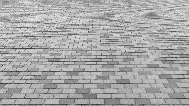 Perspektivsikt av entoniga Gray Brick Stone Street Road Trottoar trottoartextur fotografering för bildbyråer