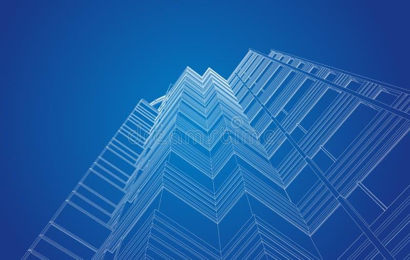 Perspektivsikt av modern byggnad vektor illustrationer