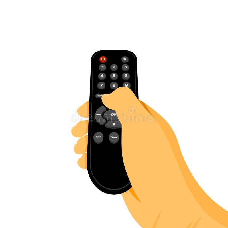 Perspektivsikt som rymmer illustrationen för televisionfjärrkontrollvektor royaltyfri illustrationer