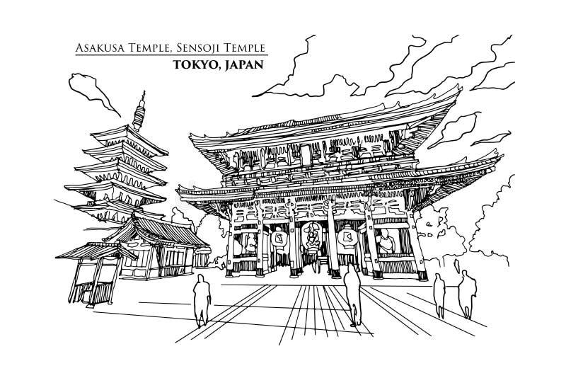 Perspektywa Asakusa świątynia lub Sensoji świątynia w TOKIO, JAPONIA, ilustracji