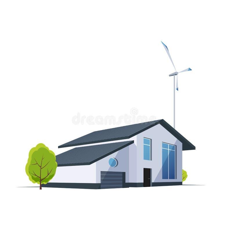 Perspektywa dom z silnikiem wiatrowym na tle Zielony energetyczny nowożytny budynek royalty ilustracja
