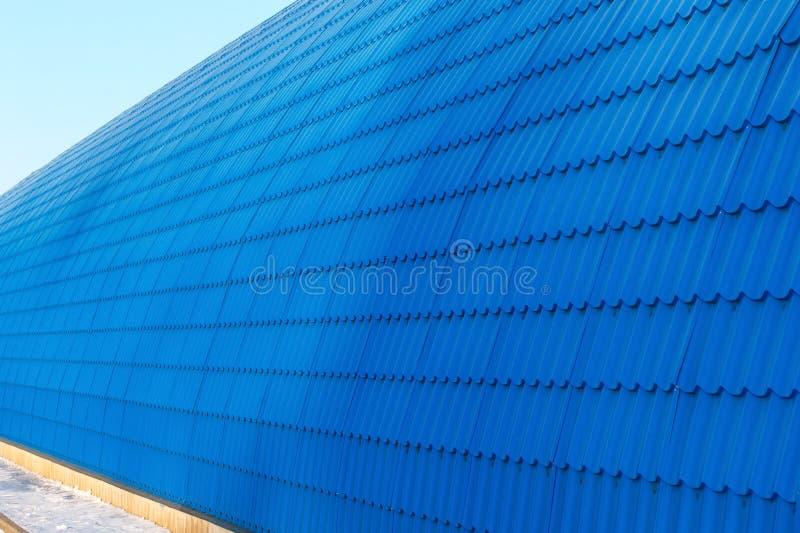 Perspektywa hangar ściana od błękit płytki obrazy royalty free