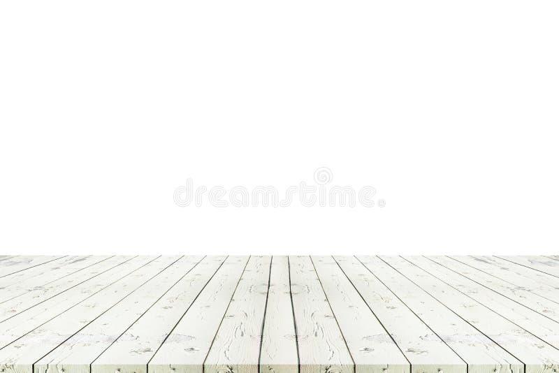 Perspektywa pusty biały drewniany stół z białym tła inclu obraz royalty free