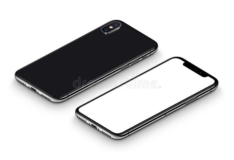 Perspektywicznego czarnego smartphone mockup frontowa strona i tylna strona CW wirowaliśmy lying on the beach na powierzchni ilustracja wektor