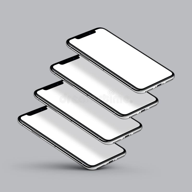 Perspektywicznego smartphone wielo- parawanowy mockup na szarym tle ilustracja wektor