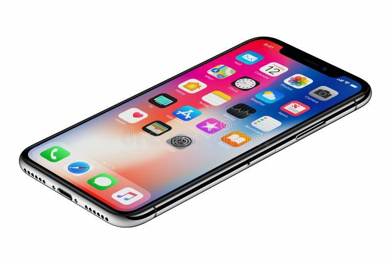 Perspektywicznego widoku iPhone X nowy Jabłczany smartphone odizolowywający na białym tle obrazy stock