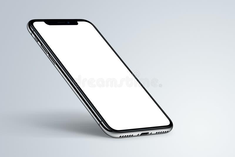 Perspektywiczny smartphone mockup z cieniem na lekkim tle zdjęcie stock