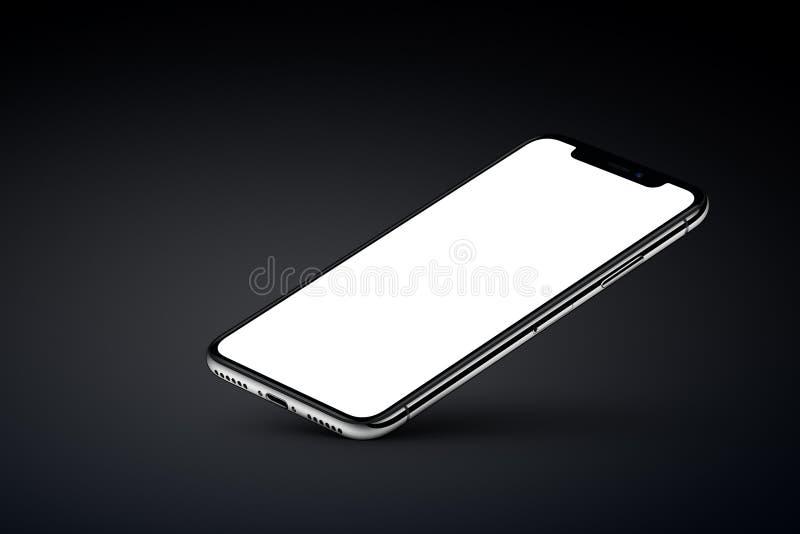 Perspektywiczny veiw smartphone mockup odpoczywa na jeden kącie na czarnym tle ilustracji