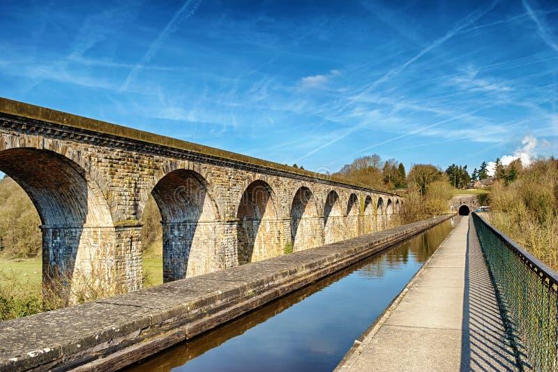 Perspektywiczny widok Chirk aquaduct i wiadukt fotografia stock