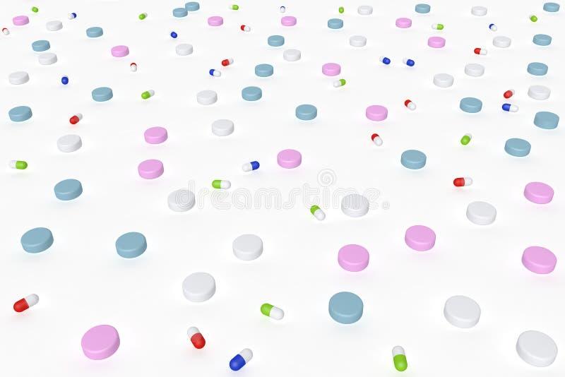 Perspektywiczny widok 3d ilustracja leki z różnorodnymi kształtami także i kolorami używalnymi jako tekstura lub wzór royalty ilustracja