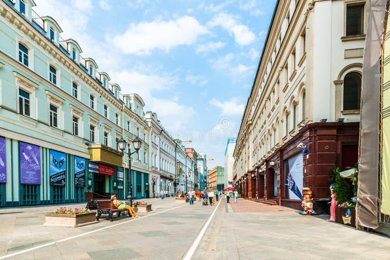 Perspektywiczny widok Nikolskaya ulica Moskwa zdjęcia royalty free