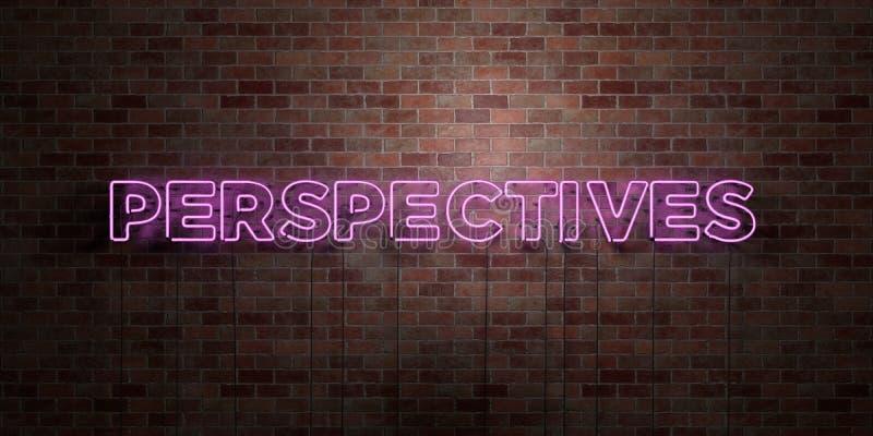 PERSPEKTYWY - fluorescencyjny Neonowej tubki znak na brickwork - Frontowy widok - 3D odpłacający się królewskość bezpłatny akcyjn royalty ilustracja