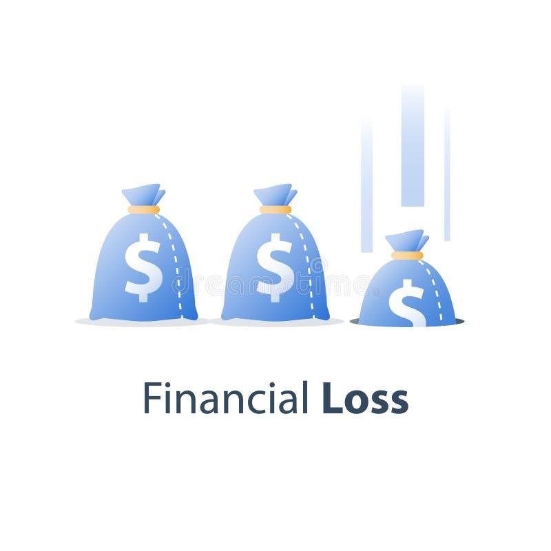 Perte d'argent, concept coûté submergé, manque de finances, chute de marché boursier, fonds de couverture d'investissement, déval illustration de vecteur