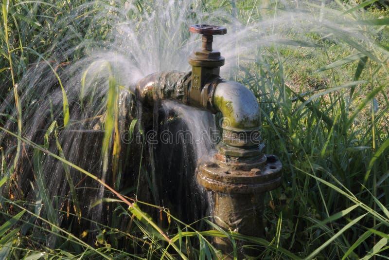 Perte d'eau du robinet de canalisation image libre de droits