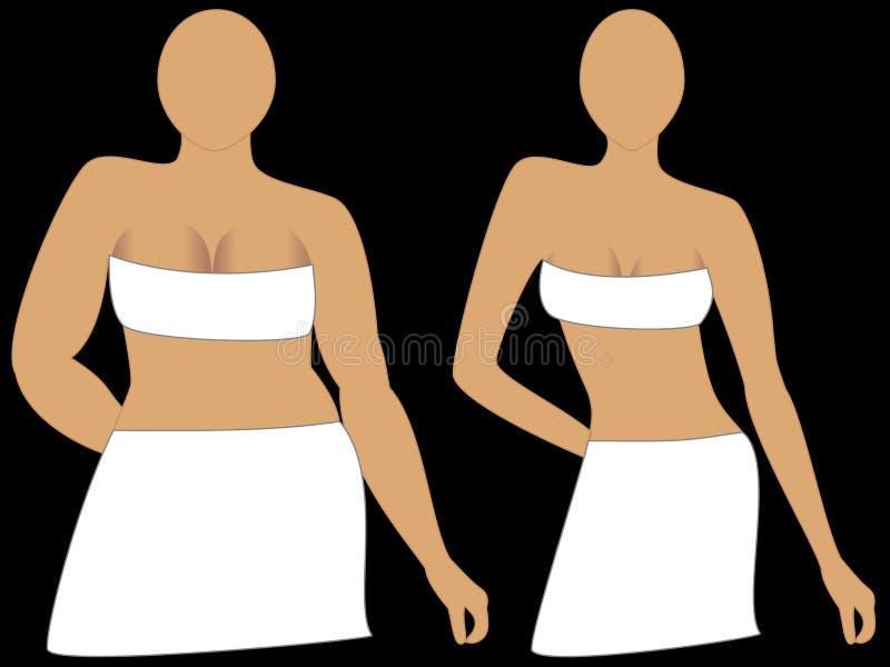 Perte de poids, avant et après. illustration stock