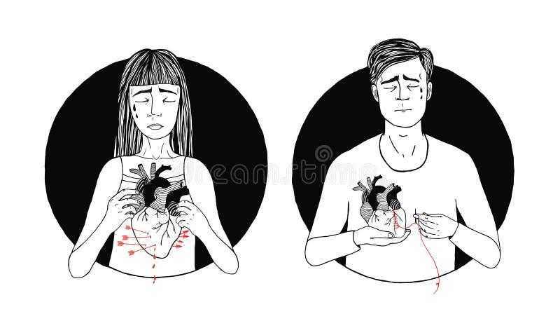 Perte triste et souffrante d'homme et de femme d'amour Concept de coeur cassé Illustration tirée par la main illustration libre de droits