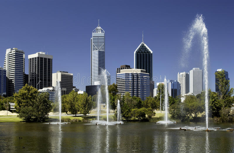 Perth - Australia - Downtown Skyline. The skyline of the downtown business district of Perth in Western Australia royalty free stock images