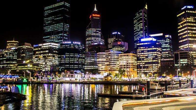 Perth City Skyline at Night stock photography