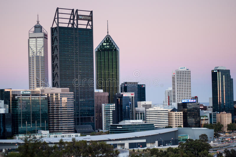 Perth CBD. Western Australia, as seen from King's Park on the golden hour in the evening royalty free stock image