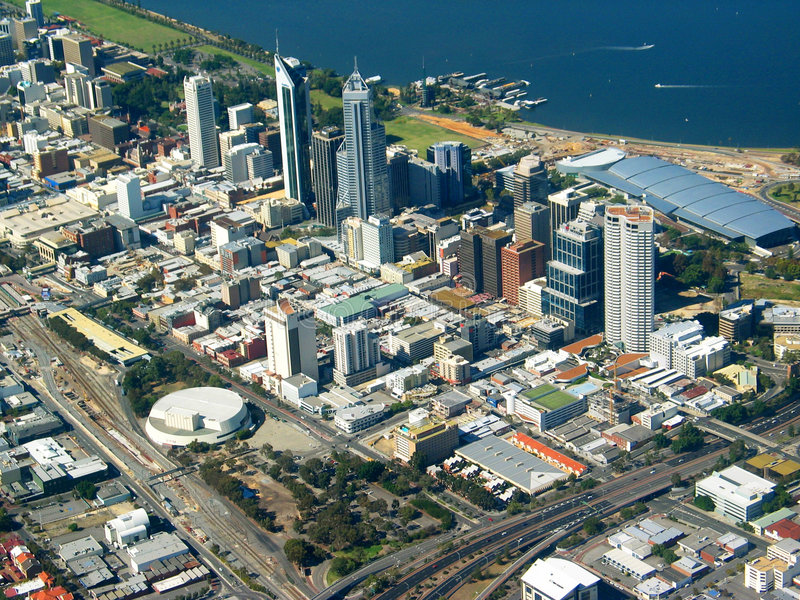 Perth City Aerial View 2 stock photo