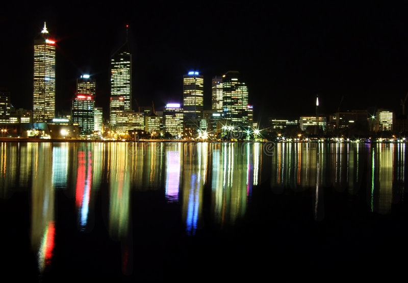 Perth City at night stock photos