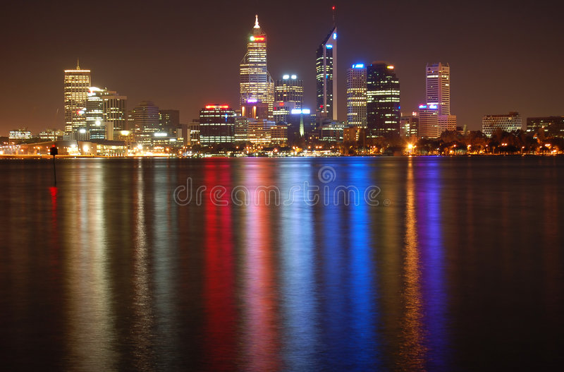 Download Perth city at night stock image. Image of bright, cityscape - 3789687